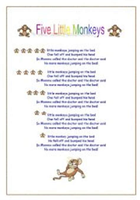 five little monkeys jumping on the bed lyrics english teaching worksheets five little monkeys