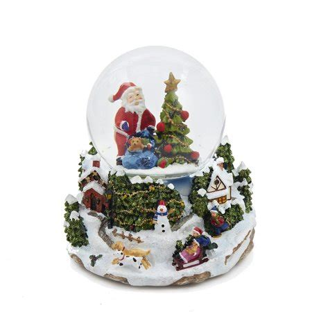 4 quot led battery operated musical santa and tree snow globe glitterdome