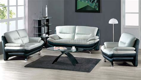 Living Room Furniture Grey Two Toned Grey Black Leather 7068 Contemporary Living Room