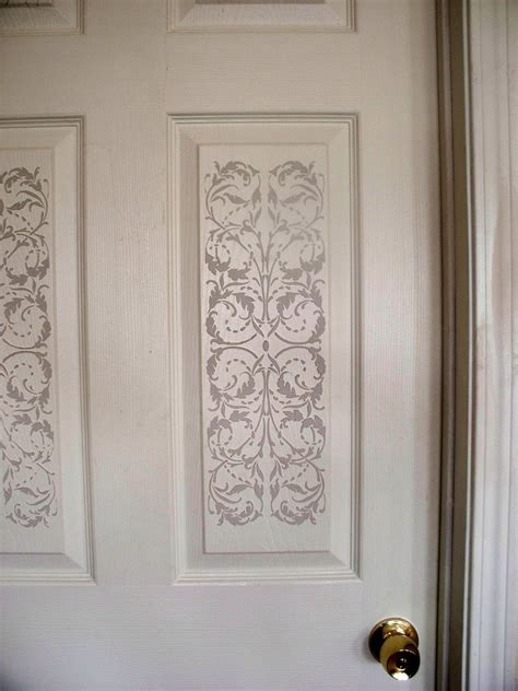 Stencils For Cabinet Doors Plaster Stenciling On A 6 Panel Door Creates Elegance Walls Stencils Plaster