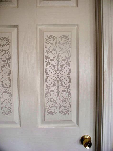 plaster stenciling    panel door creates unbelievable
