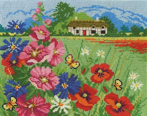 cross stitch pattern maker uk dmc seasonal landscapes summer meadow cross stitch kit bk1677