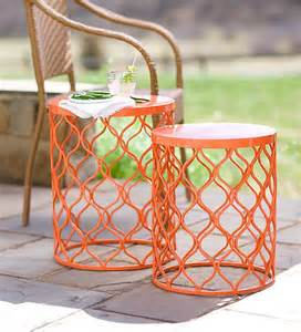 colorful side tables nesting tables in colorful metal design set of 2
