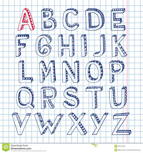 Lettering Notebook S M sketch alphabet font notebook stock vector illustration