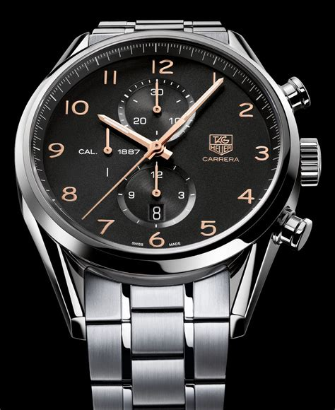 Tag Heuer Cal 1887 Black Orange Leather tag heuer 1887 43mm look the home of tag heuer collectors
