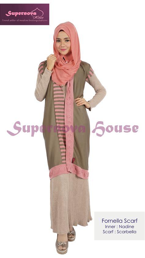Gamis Rajut Zahra fornella scarf salem coklat baju muslim gamis modern