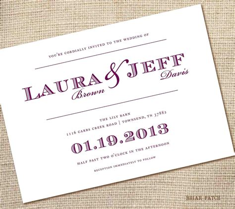simple wedding invitation template invitation templates