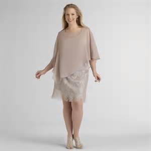 Sally lou fashions women s plus lace dress amp rhinestone capelet sand