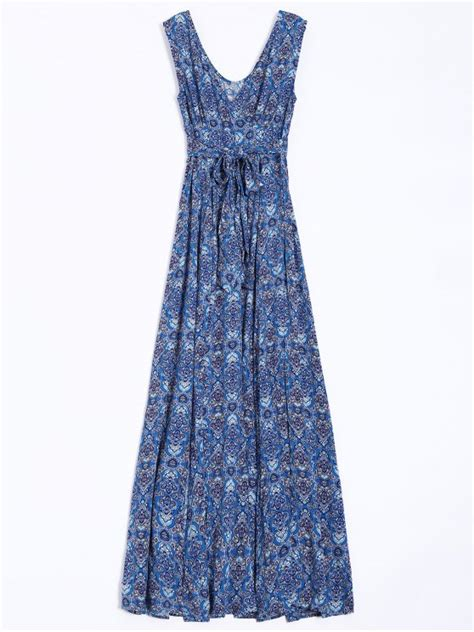 9615 Belted Paisley Print Dress belted paisley print maxi dress blue maxi dresses m zaful