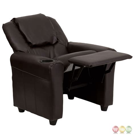 kids leather recliner with cup holder contemporary brown leather kids recliner with cup holder