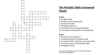 periodic table crossword puzzle answers the periodic table crossword puzzle complete with answers