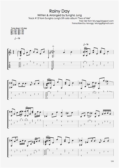 fingerstyle guitar tutorial sungha jung hmmm fingerstyle guitar tabs rainy day sungha jung