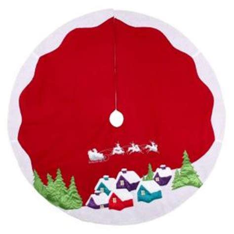 martha stewart tree skirt poinsetta martha stewart living 48 in fleece santa and sleigh rooftops tree skirt