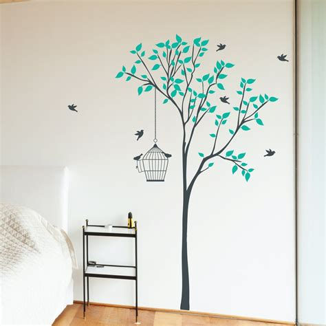 large tree wall stickers uk tree with hanging bird cage wall sticker wallboss wall