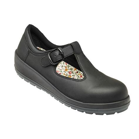 womens safety shoes parade batina womens buckle fastened black microfiber