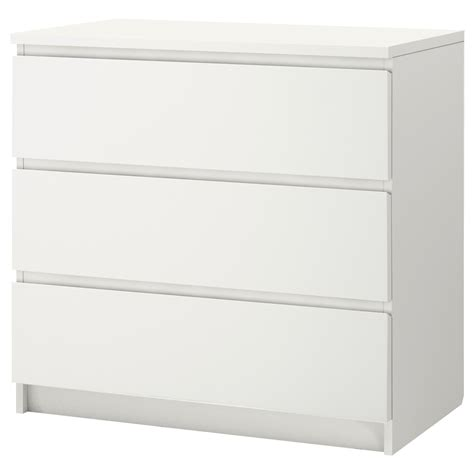kommode 90 x 60 malm chest of 3 drawers white 80x78 cm ikea