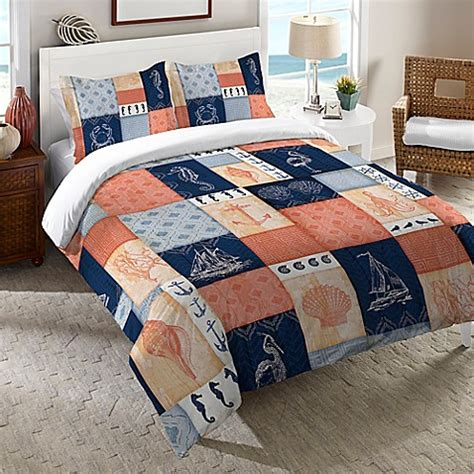 laural home 174 coastal duvet cover in coral navy bed bath