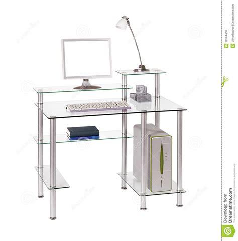 bureau ordinateur verre bureau en verre d ordinateur photos libres de droits