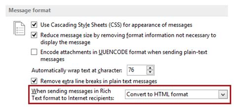 email format html or rich text email attachments disappear when sent to others