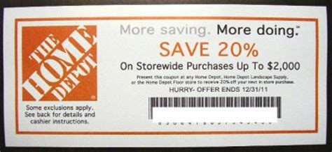 lot of 4 home depot lowes 20 coupons exp12 31 11 ebay