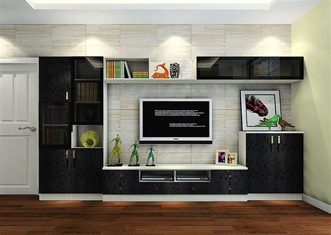 Italy Living Room Black Tv Cabinet With Brick Wallpaper Tv Cabinet For Living Room