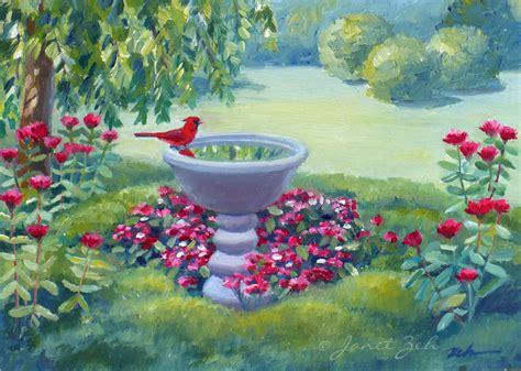 Paintings Of Flower Gardens Janet Zeh Original Watercolor And Paintings Northern Cardinal Birds Original