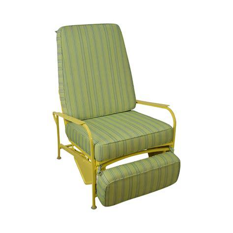 patio recliner lounge chair mid century modern white yellow vinyl patio