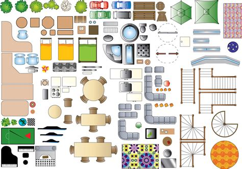 floor plan symbols illustrator plan view furniture clipart 17