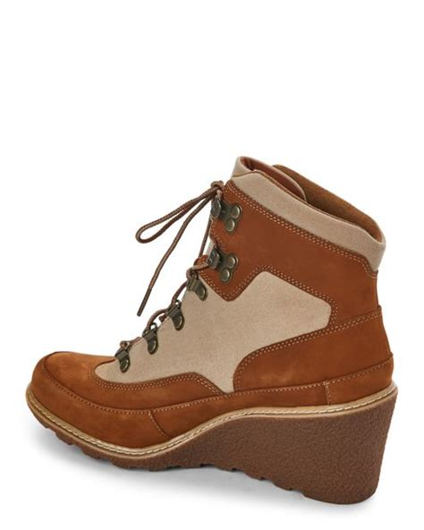 timberland wedge boots timberland rust amston hiker wedge boots in brown lyst