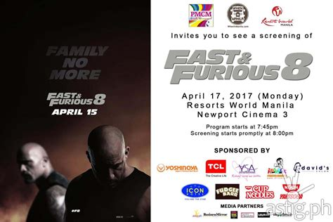 fast and furious 8 film in philippines fast and furious 8 giveaway free 2 tickets for every 5