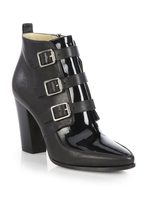 jimmy choo boots jimmy choo hutch leather buckle ankle boots in black lyst
