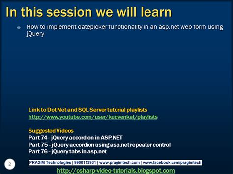 jquery tutorial video sql server net and c video tutorial jquery datepicker