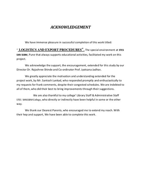 Acknowledgement Format For Mba Project Report by Sle Of Acknowledgement For Project Allowed But Phpapp