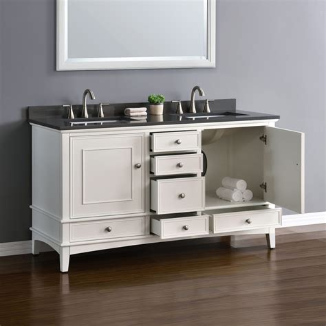 quartz 60quot bathroom vanity white cabinet double sink basin