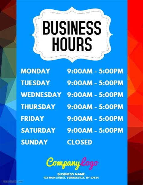 Business Hours Flyer Template Postermywall Opening Hours Template