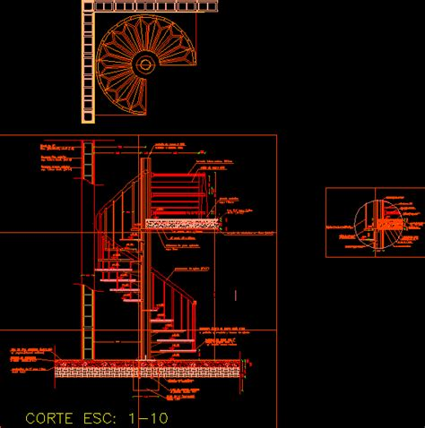 spiral staircase materials construction details dwg plan