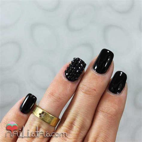 imagenes de uñas acrilico negras u 241 as decoradas en negro charol con piedras nail art