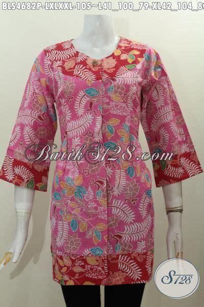 Dress Batik Bunga Pink baju blus batik warna pink kombinasi merah motif bunga