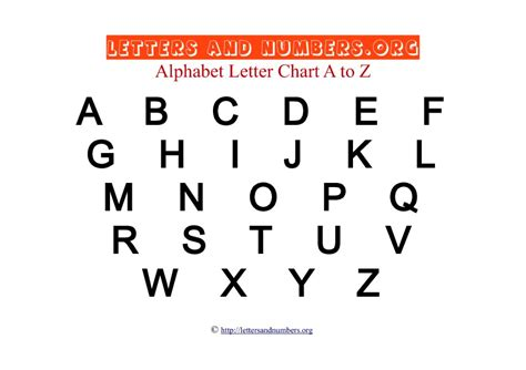 printable alphabet and number chart printable a to z bold letter charts letters and numbers org