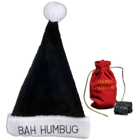 plush bah humbug santa hat bah humbug plush black santa hat 22 5 quot cir bag of coal 4pc gift set walmart