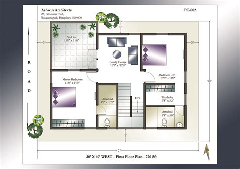 floor plan for 30x40 site 30 x 40 house plans 30 x 40 west facing house plans