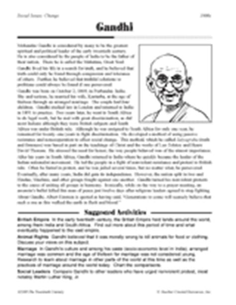 gandhi biography for middle school gandhi printable 5th 8th grade teachervision com