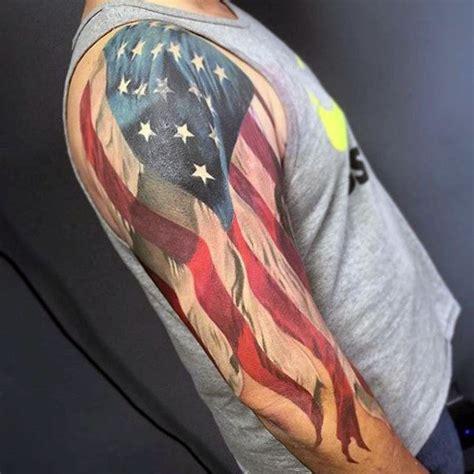 quarter sleeve american flag tattoo half sleeve waving american flag patriotic guys white ink