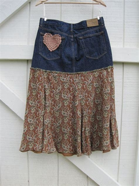 boho skirt rustic denim skirt denim skirt