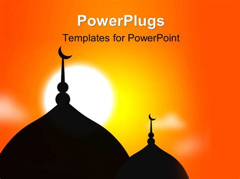 powerpoint template religious mosque silhouette during