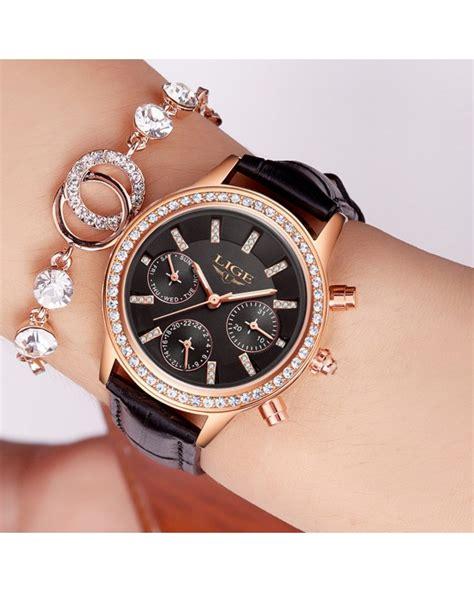 montre femme quot lige quot marque de luxe multi fonctions fonds noir avec bracelet cuir noir
