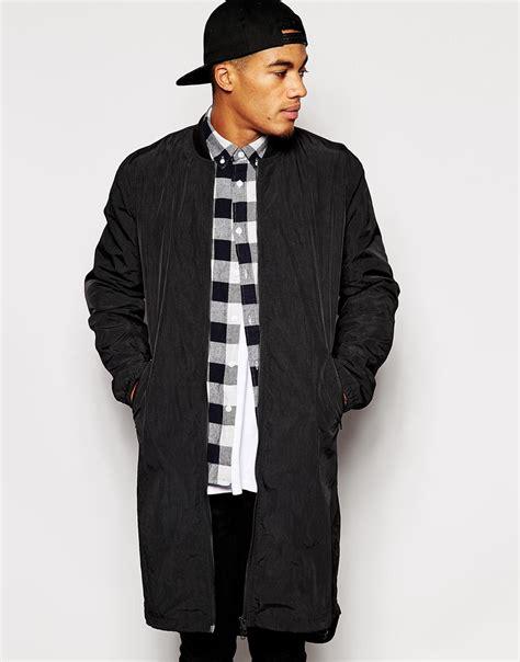 Asos Longline Bomber lyst asos bomber jacket in longline in black for