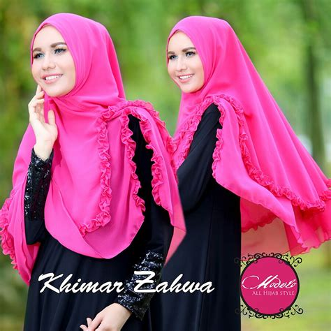 Jilbab Syari Pink Fanta khimar zahwa by modelo pusat grosir jilbab modern