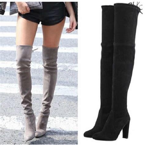 high heels knee tight high boots gray black