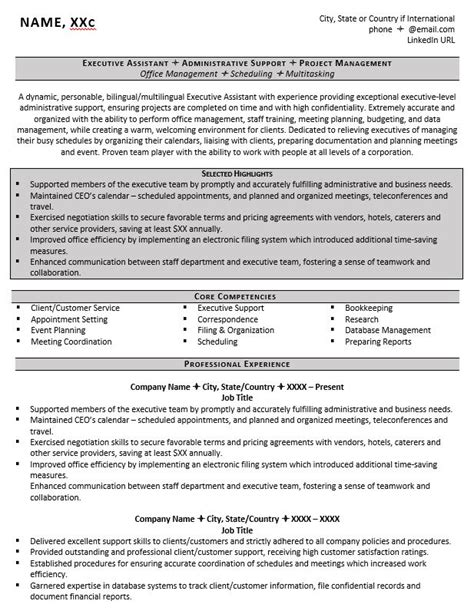 assistant management executive resume executive assistant resume exle and 5 tips to writing